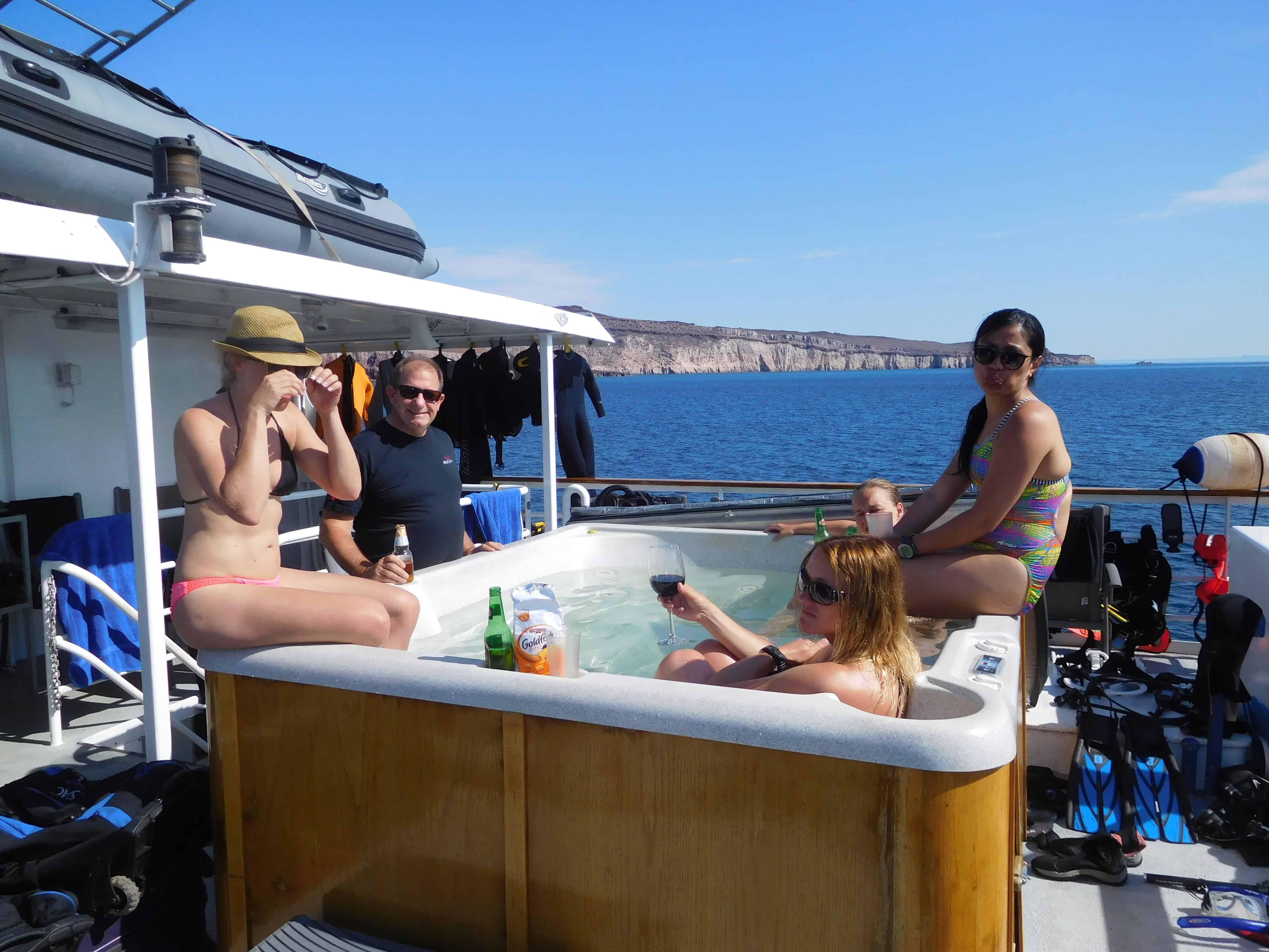 Enjoying the trip aboard the Nautilus Explore of our Channel Islands Dive Adventures trip to Socorro