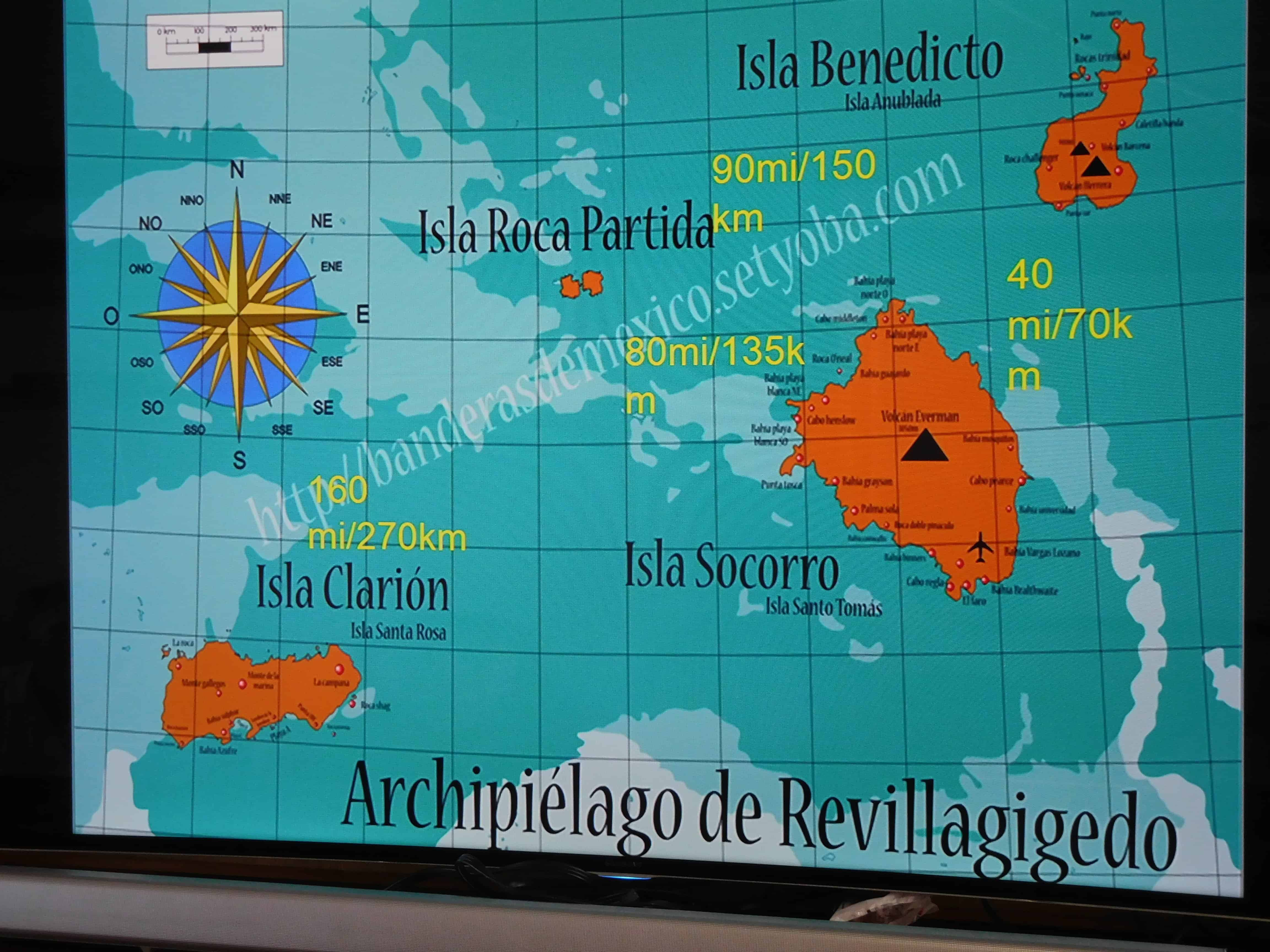Map of the Revillagigedo on the Nautilus Explorer on our Channel Islands Dive adventures trip